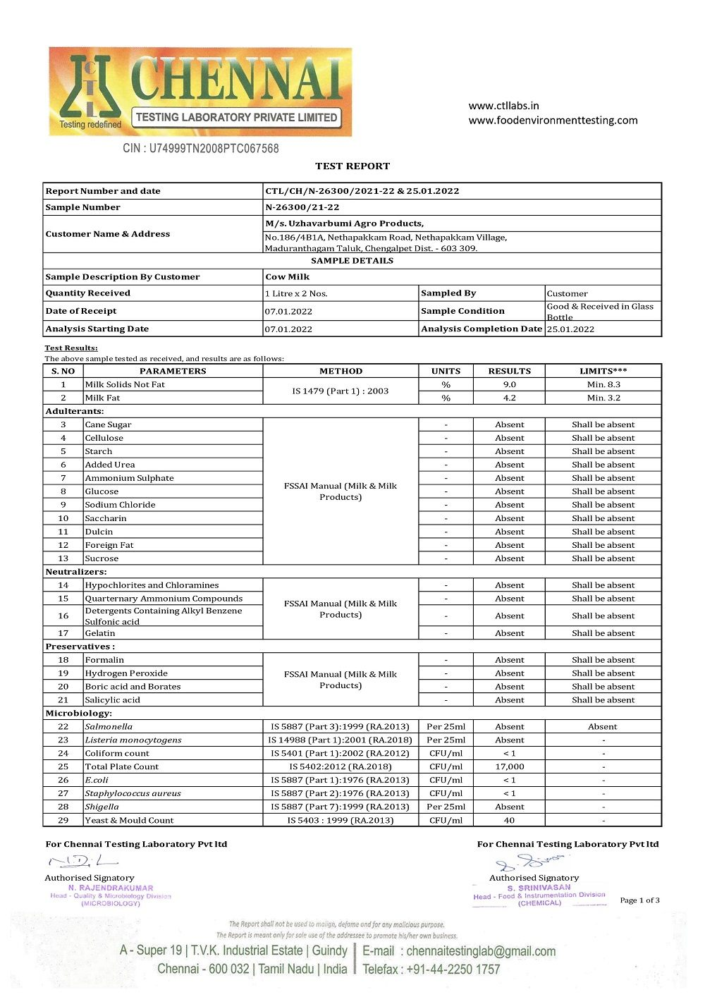 UzhavarBumi Milk's Test Report